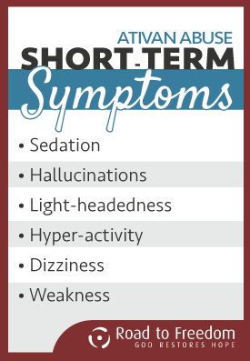 Ativan Abuse, Short term symptoms